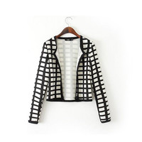 Retro Black & White Checkered Collarless Blazer