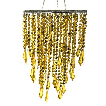 Hanging Beaded Chandelier with Icicle Crystals, Gold, 10-1/2-Inch