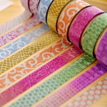 10 pcs/Lot Gold paper washi tape Bling bling Glitter stickers 15mm*3m decorative tapes for scrapbooking DIY Stationery F141