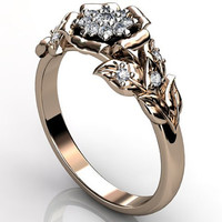 14k two tone rose gold diamond unusual unique cluster floral engagement ring, bridal ring, wedding ring ER-1074-3.