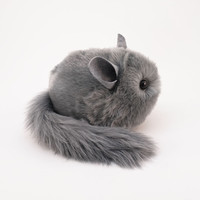 Stuffed Chinchilla Stuffed Animal Cute Plush Toy Chinchilla Kawaii Plushie Sterling Light Grey Chinchilla Cuddly Faux Fur Large 6x10 Inches