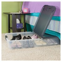 Sterilite 74 Qt Ultra Clear Under Bed Box with Gray Lid & Latches