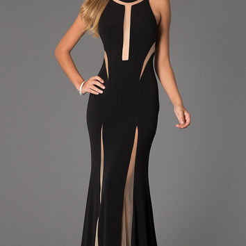 Black Halter Mesh Cut-Out Maxi Dress