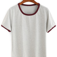 Contrast Trim Plain T-shirt -SheIn(Sheinside)