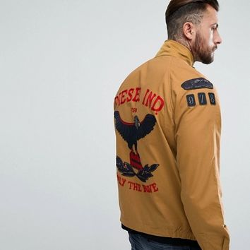 Diesel Field Jacket Eagle Embroidery at asos.com
