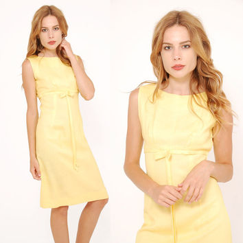 Vintage 60s YELLOW Linen Dress Retro SHIFT Dress Rockabilly Style Dress with BOW