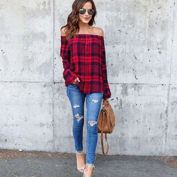 ONETOW 2018 Spring Autumn Women Casual Plaid  Off Shoulder Blouse Shirts Fashion Button Red Classical Long Sleeve Shirts Tops Blouse
