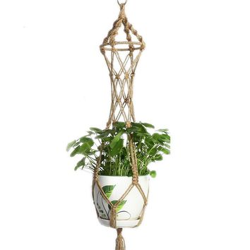 Hanging Plant Flower Pot Knotted Hemp Rope Holder