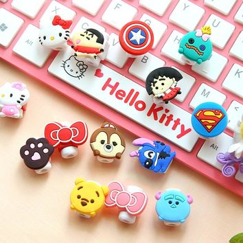 2pcs USB cable Earphones Protector colorful hello kitty Cover For iphone android cable Data Line Protection sleeve