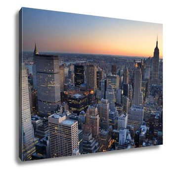Gallery Wrapped Canvas, New York City Manhattan Skyline Panorama Sunset Aerial View With