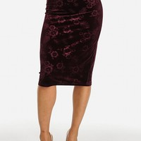 Sexy Clubwear Slip On Wine Slim Fit Floral Print Velvet Midi Skirt in Skirts
