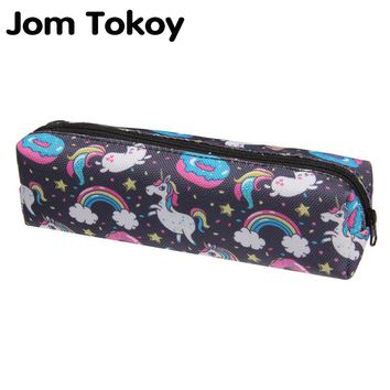 Jom tokoy 3D Print Makeup Bag 2018 The New Women unicorn Cosmetic Bag Stationery Pouch Kids School Pencil Bag