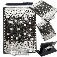 Jersey Bling® iPad Air Black Gem 3D Crystal & Rhinestone Faux Leather Case with Built In Stand & FREE Stylus