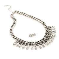 FOREVER 21 Rhinestone Fringe Statement Necklace & Stud Set Silver/Clear One