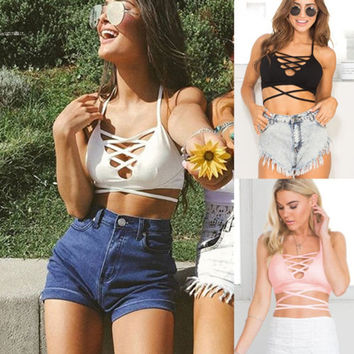 Lace up sexy bustier crop top bralette women tops backless tank tops camis cross camisole