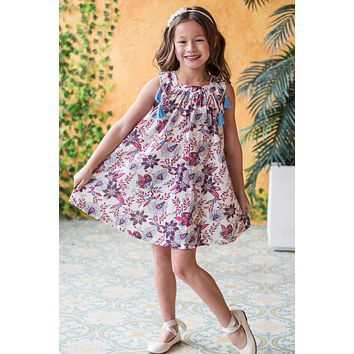 Girls Red Floral Print Cotton Easter Shift Dress w. Tassels 2T-10