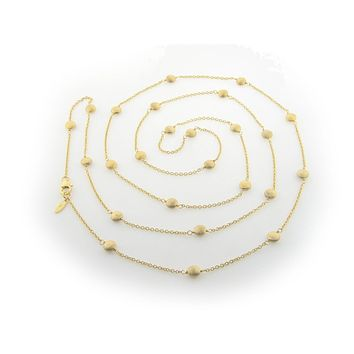 "Gold Plated Sterling Silver Satin Coin Beads Connector Necklace, 36"" + Extender"