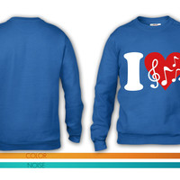 I love Music - Notes crewneck sweatshirt