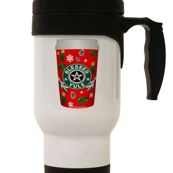 Blessed Yule Red Coffee Cup Stainless Steel 14oz Travel Mug by TooLoud