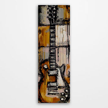 Guitar painting, Guitar art, Music painting, Original yellow, gray, pale pink, white, black guitar painting on 36x12 inch canvas by Magier