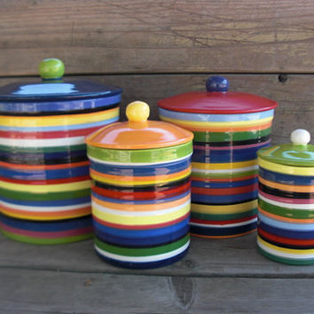 Set of 4 Rainbow Striped Ceramic Canister Set RESERVED by InAGlaze