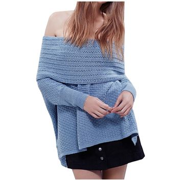 Partiss Women's Sexy Long Sleeve Off Shoulder Knitted Sweater
