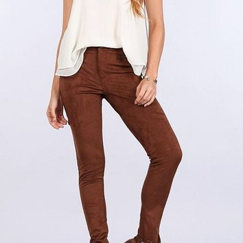 Blu Pepper Brown Suede Leggings
