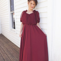 70s Formal Red Burgundy Dress Draped Maxi Gown S M Vintage