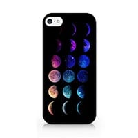 Moon Phases - Lunar Phases - Hipster Moon Phases - iPhone 5C Black Case (C) Andre Gift Shop