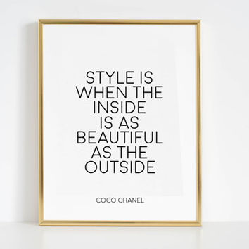 Coco Chanel Quotes Coco Chanel Wall Decal Fashion Decor Fashion Wall Art Gift Women Inspirational Print Printable Art Typography Poster