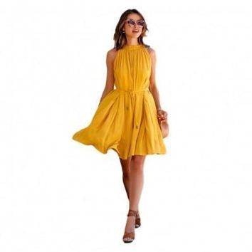 Yellow Casual Sleeveless Summer Dress Shop