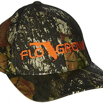 FloGrown Mens Camo Flexfit Hat Small/Medium Camo green