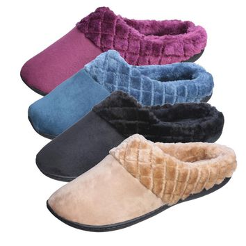 Women's Suede Clog With Diamond Plush Trim - CASE OF 36