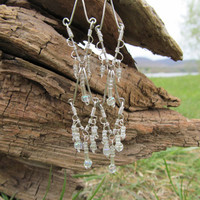 White Beaded Silver Wire Long Chandelier Earrings by TheHempChick