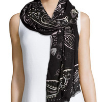 William Lightweight Paisley Scarf, Size: ONE SIZE, BLACK - MARC by Marc Jacobs