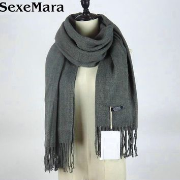 LOVESUN Echarpe Luxury Brand Blanket Scarf Unisex Female Male Wool Cashmere Scarf Pashmina Shawl Scarves Women Men Wrap AW63