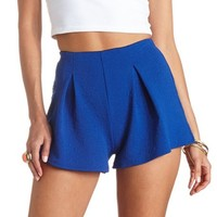 Floral-Textured Pleated High-Waisted Shorts