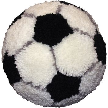 "Soccer Ball Huggables Shaped Pillow Latch Hook Kit 10"" Round"