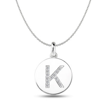 """K"" Diamond Initial  14K White Gold Disk Pendant (0.13ct)"