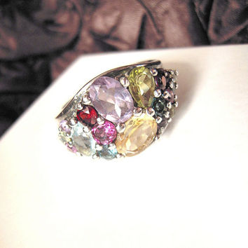 Multi gemstone Sterling silver ring, size 8, family ring, 17 gemstones, birthstone ring, cocktail ring, Mother's Day, oval and round gems.