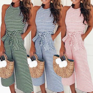 Summer O Neck Sleeveless Bowknot Pants Playsuit Bohemian Pockets Rompers Overalls Sexy Office Women's Striped Jumpsuits