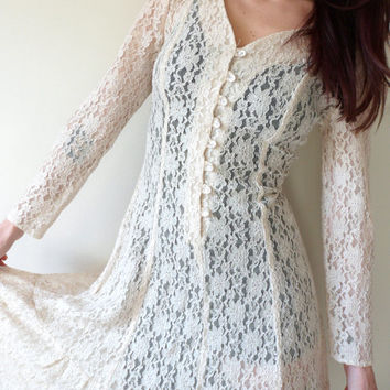 Vintage 90's Cream Lace Tie Back Long Sleeve Dress All That Jazz