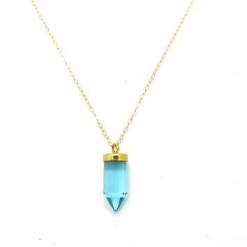 Quartz Crystal Point Necklace // Sky Blue Spike Necklace