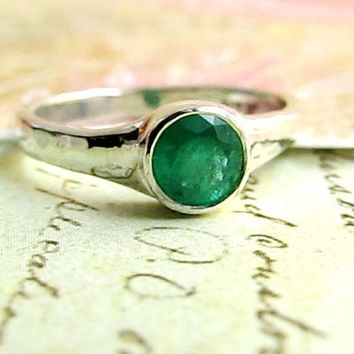 Emerald Ring, 14k White Gold Engagement Ring and LARGE AAA Natural 5mm Emerald, Wedding Band, Genuine Precious Stone