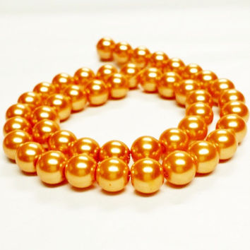"Orange 10mm Beads, 10mm Round Glass Pearl Bead, 10mm Glass Beads, 45 Pearls, Orange Pearls, Round Beads, Loose Pearls, 16"" Strand of Pearls"
