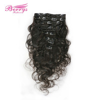 Clip in hair extensions  brazilian virgin hair 16in-24in 8pcs/set,100g/set, 18 kinds of color can choose Brazilian body wave