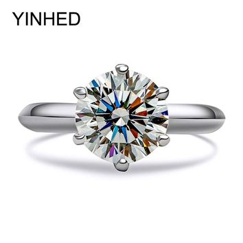 90% OFF !! YINHED Genuine 925 Sterling Silver Wedding Rings for Women 2 Carat Cubic Zirconia CZ Engagement Ring Jewelry ZR214