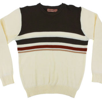 Vintage Striped Pullover Sweater - Ivory Brown Red Jumper Knit 80's 70's - Men's Size Extra Large XL
