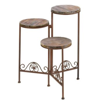 Flower Plant Stand-Wood Shelves Wrought Iron 3 Tier