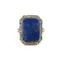 Art Deco Ring, Silver 835, Lapis Lazuli, Germany German, Scrolled Octagon, Silver Lapis Ring, Vintage Ring, Art Deco Jewelry